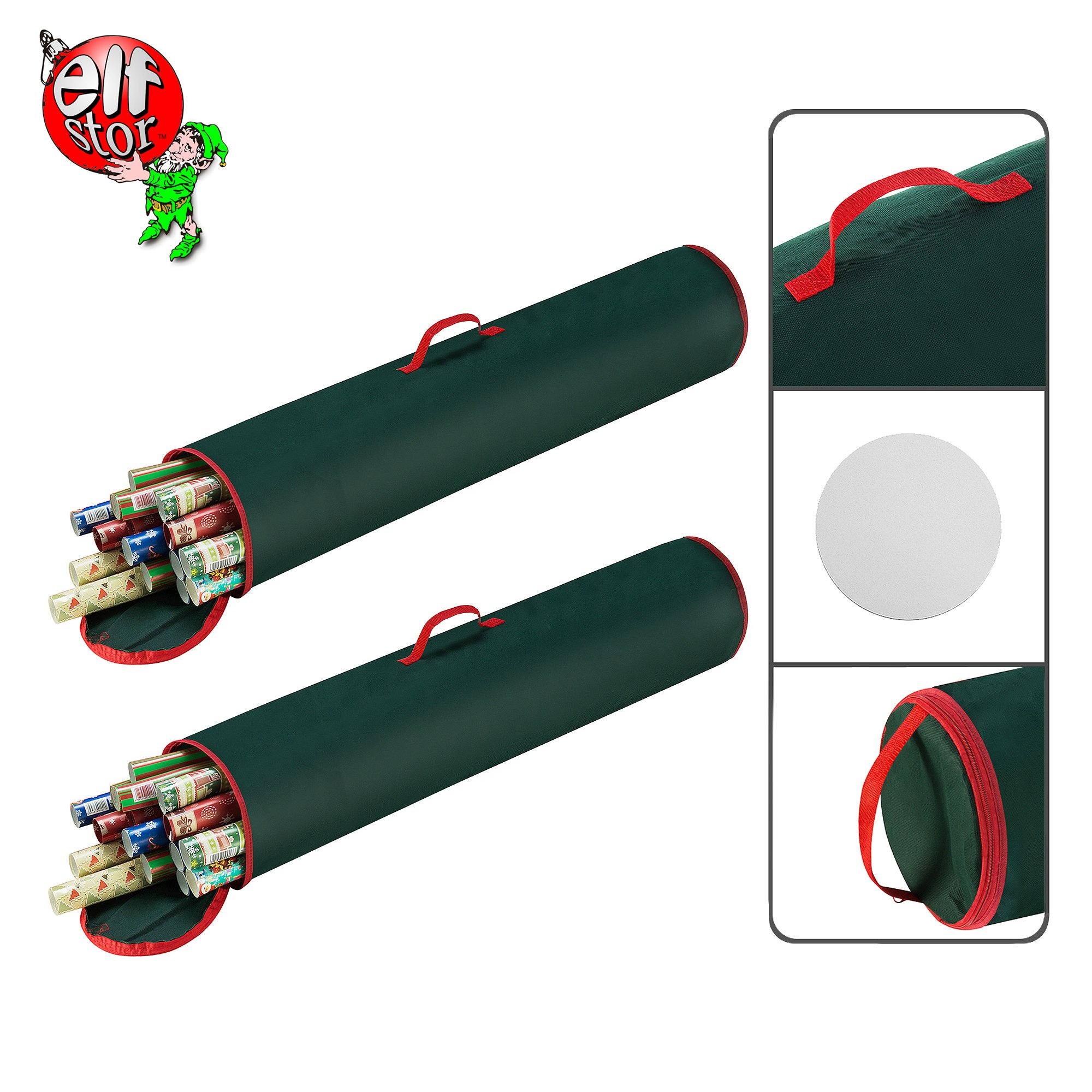 Elf Stor 83-DT5155 Gift 40.5 inch Wrapping Paper Storage Bag   Green   Stand Up or Under Bed, Two
