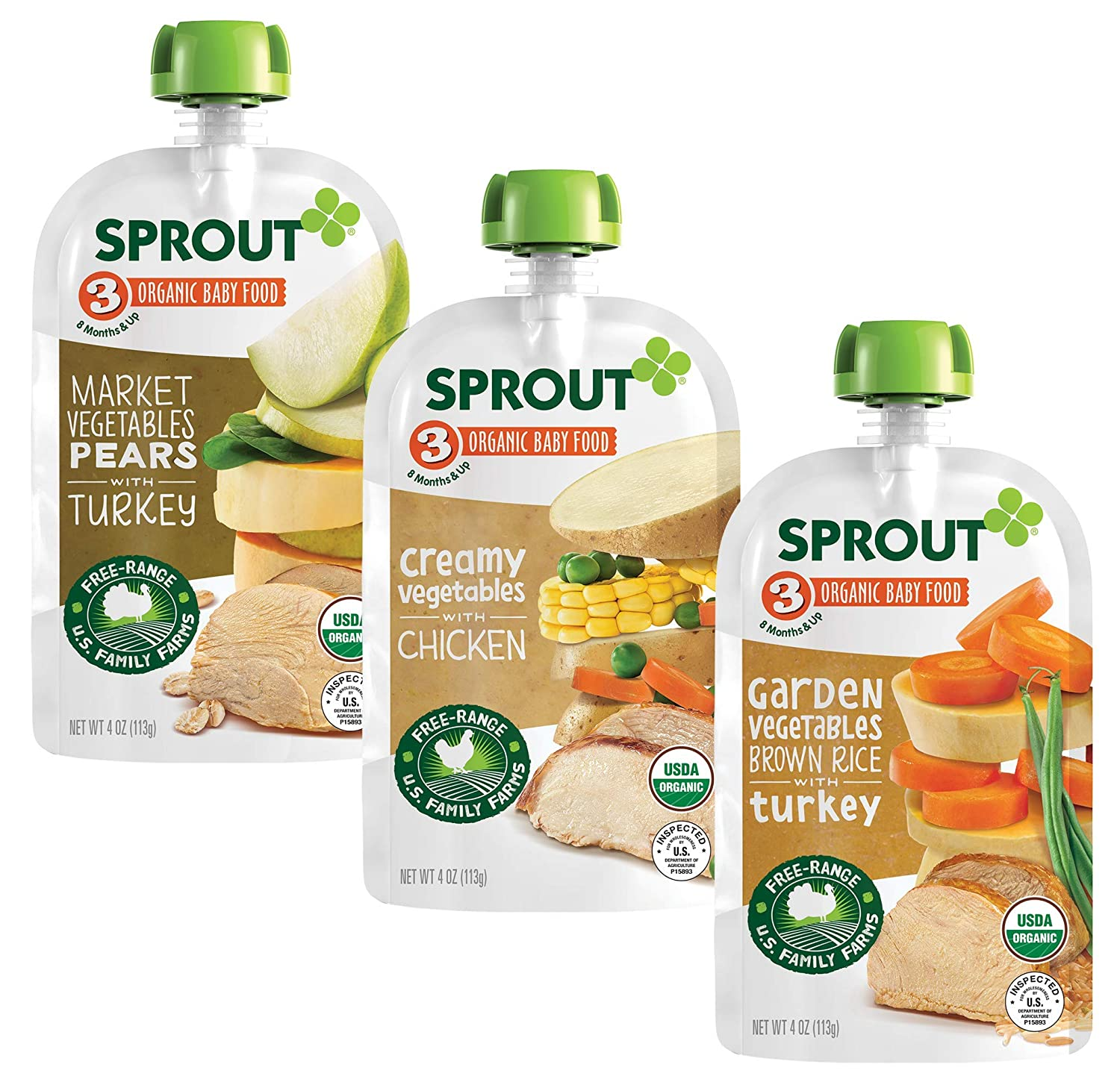 Sprout Organic Stage 3 Baby Food Pouches, Meat Variety, 4 Ounce (Pack of 18) 6 of Each: Creamy Veg w/ Chicken, Market Veg Pears w/ Turkey & Garden Veg Brown Rice w/ Turkey