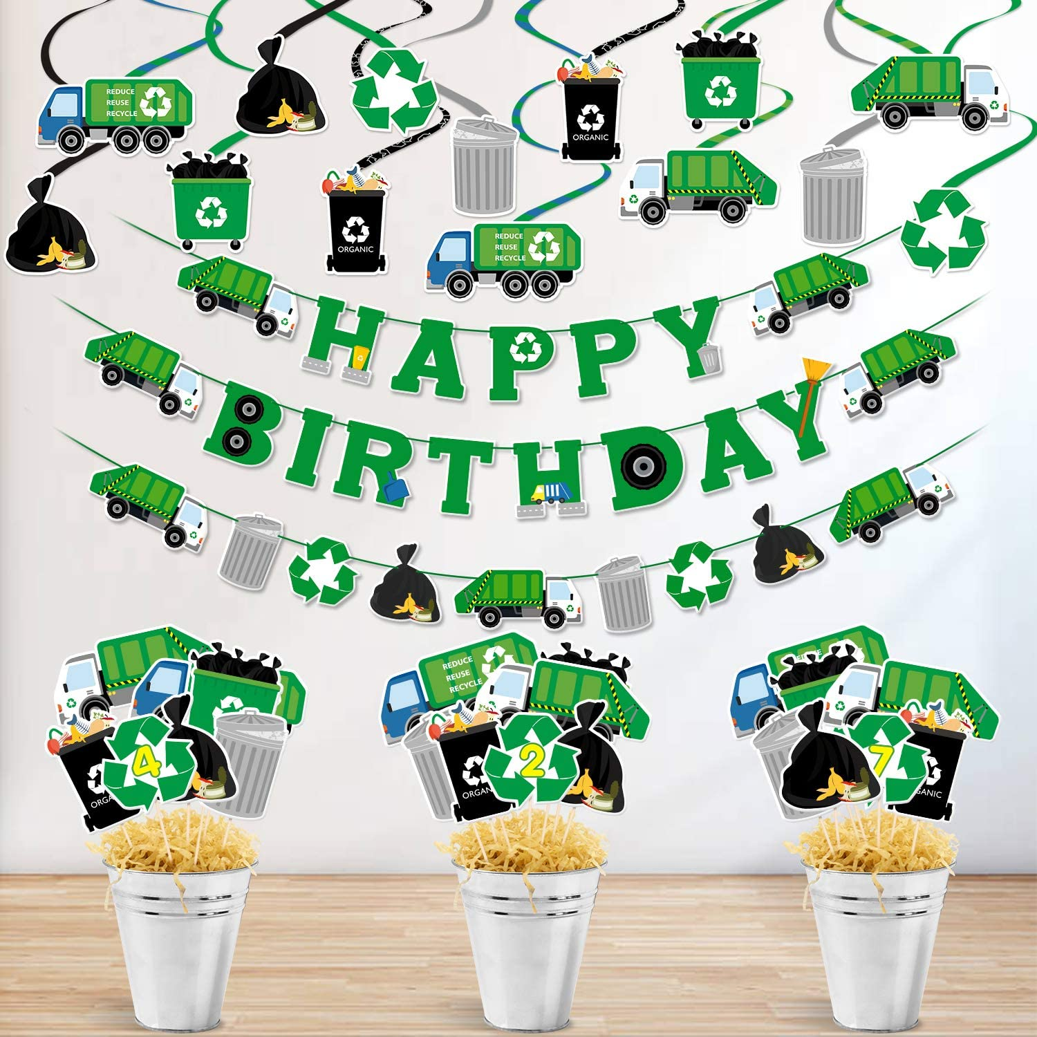 Garbage Truck Party Decorations Set Birthday Banner Garland Centerpiece Sticks Hanging Swirl Decor for Trash Truck Waste Management Recycling Party Supplies
