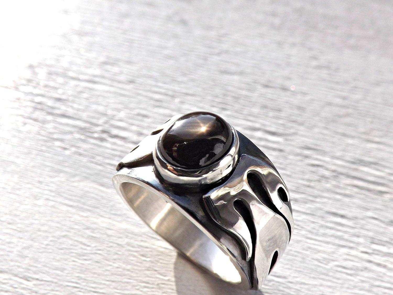NATURAL BLACK STAR SAPPHIRE Sterling Silver Men/'s Ring Handmade • SR197