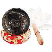 Handmade Antique Design Tibetan Singing Bowls for Buddhism Buddhist Meditation with Mallet & Silk Cushion,Chakra Healing,Prayer,Yoga,Mindfulness and Healing Relaxation Through Vibration Buddhism Tibetan Singing Bowl