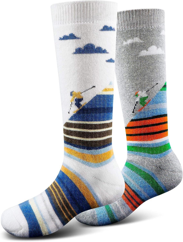 Ski Socks Kids Winter Warm Thermal Snow Socks, Skiing Snowboarding Skating for Toddler Boys and Girls (2 Pairs or 3 Pairs): Clothing