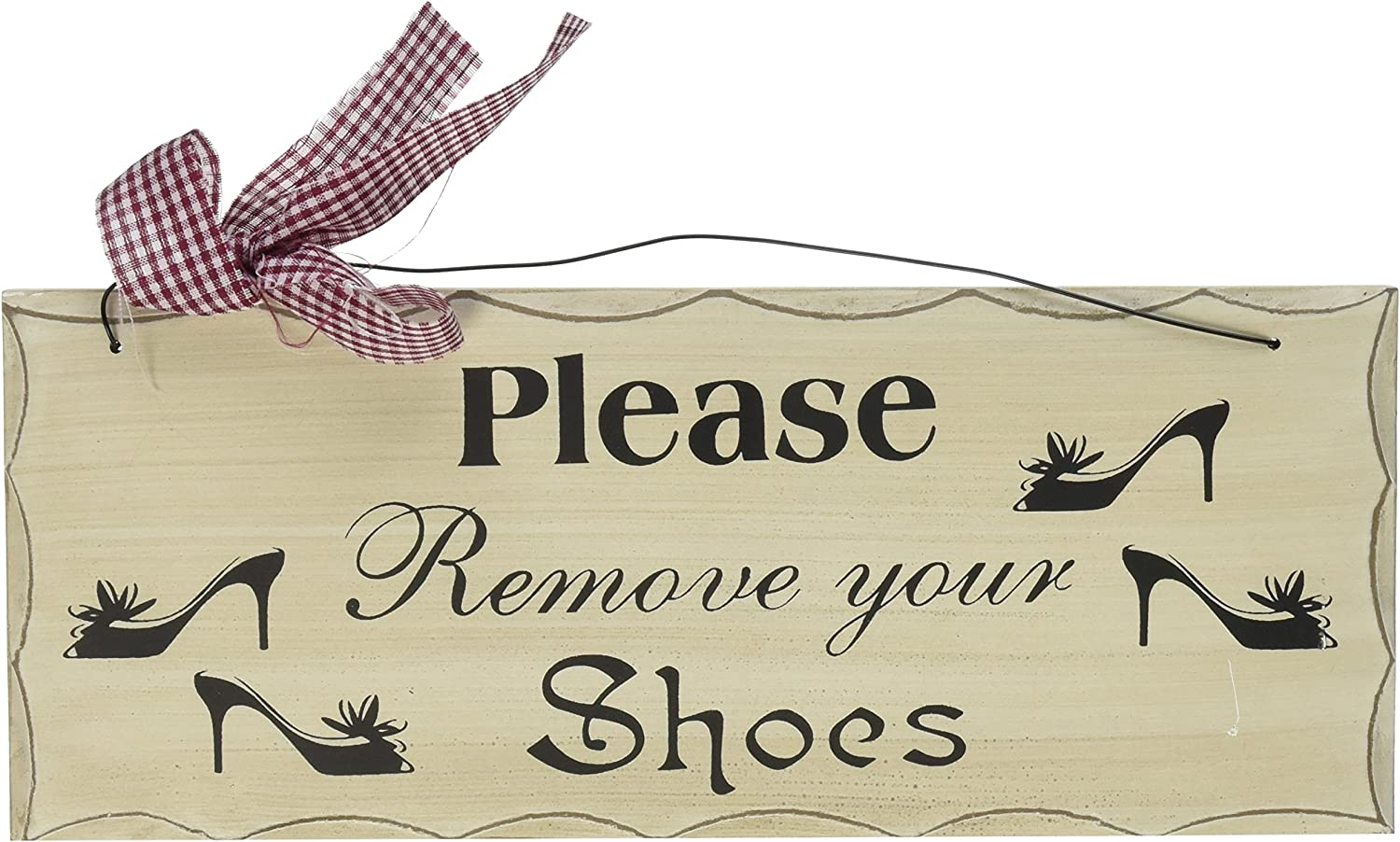 YK Decor Special Please Remove Your Shoes Wood Sign FW1010