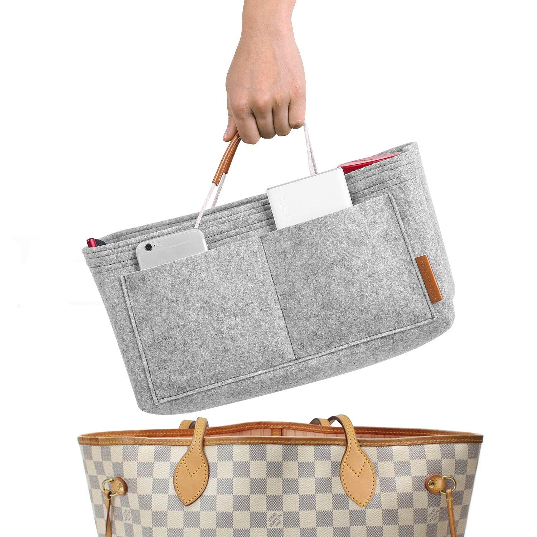 FOREGOER Purse Insert Handbag Organizer Bag in Bag Organizer with Handles - Small by FOREGOER