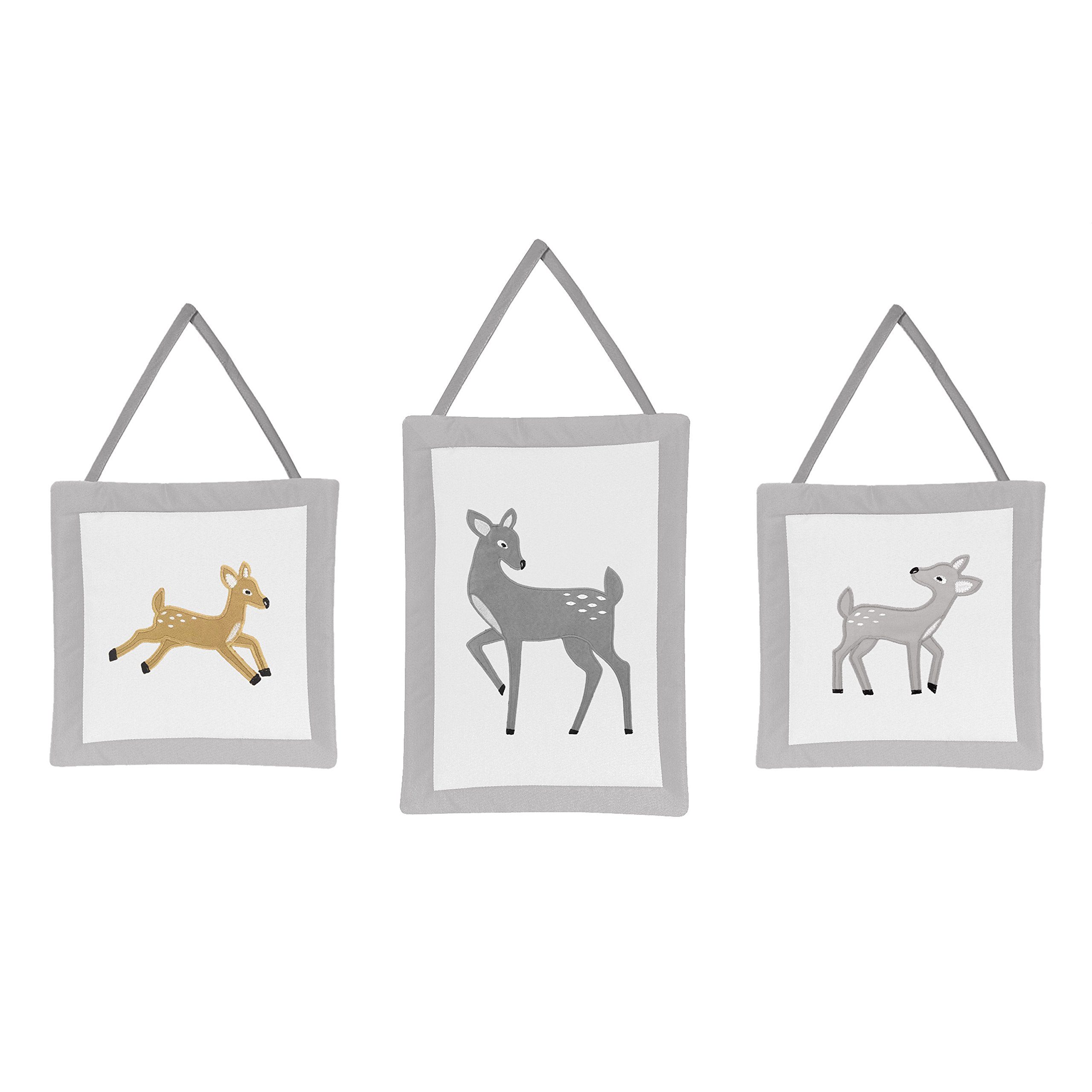 LL Three Piece Grey White Baby Deer Plush Wall Art Set, Tan Nursery Woodland Themed Hanging Decor, Gray Infant Forest Animal Wild Kids Cute Adorable Childrens Home Accent, Cotton