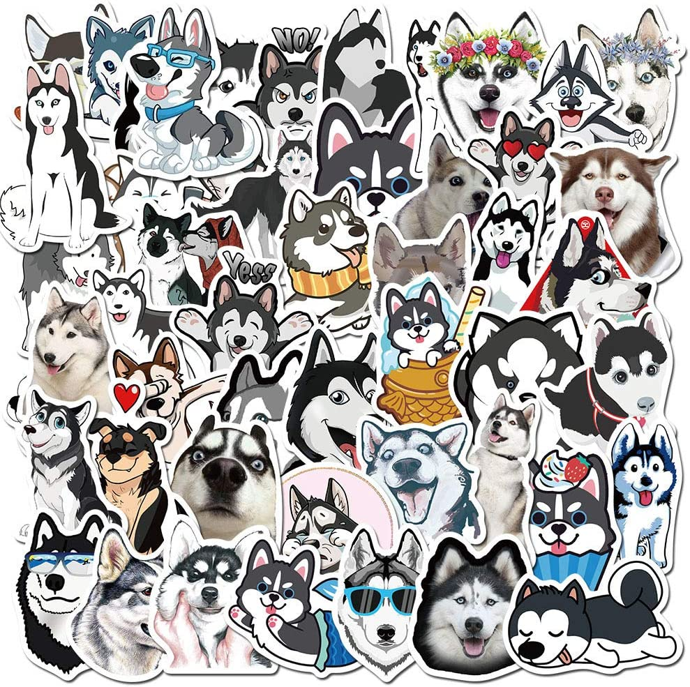 50 Pcs Siberian Husky Dog Stickers, Husky Dog Waterproof Vinyl Stickers for Water Bottles Laptop Luggage Cup Mobile Phone Skateboard Decals, Suitable for Kids, Boys, Girls, Teens and Adults