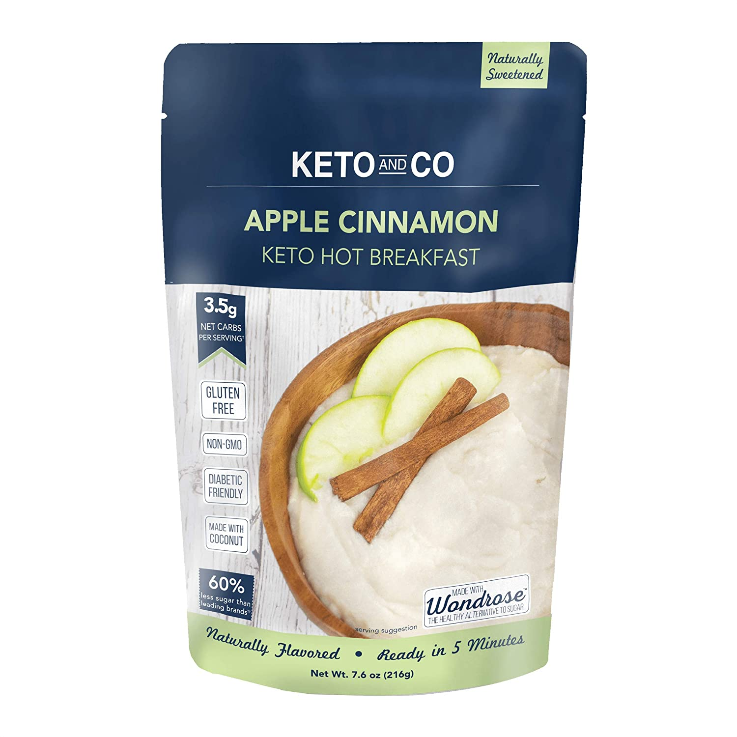 Keto Hot Breakfast by Keto and Co   Apple Cinnamon Flavor   Just 3.5 Net Carbs Per Serving   Gluten Free, Low Carb, No Added Sugar, Naturally Sweetened   (8 Servings - Apple Cinnamon)