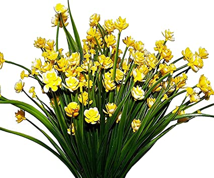 Amazon ayfashion 4pcs artificial daffodils faux yellow flowers ayfashion 4pcs artificial daffodils faux yellow flowers greenery plants plastic shrubs office kitchen home garden hanging mightylinksfo