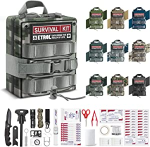 ETROL First Aid Kit, Upgrade Emergency Survival Kit - 22 in 1 Compatible IFAK - 3L Military Tactical Molle Pouch - Camping Gear Trauma kit for Hiking Car Home Fishing Earthquake Travel Supplies