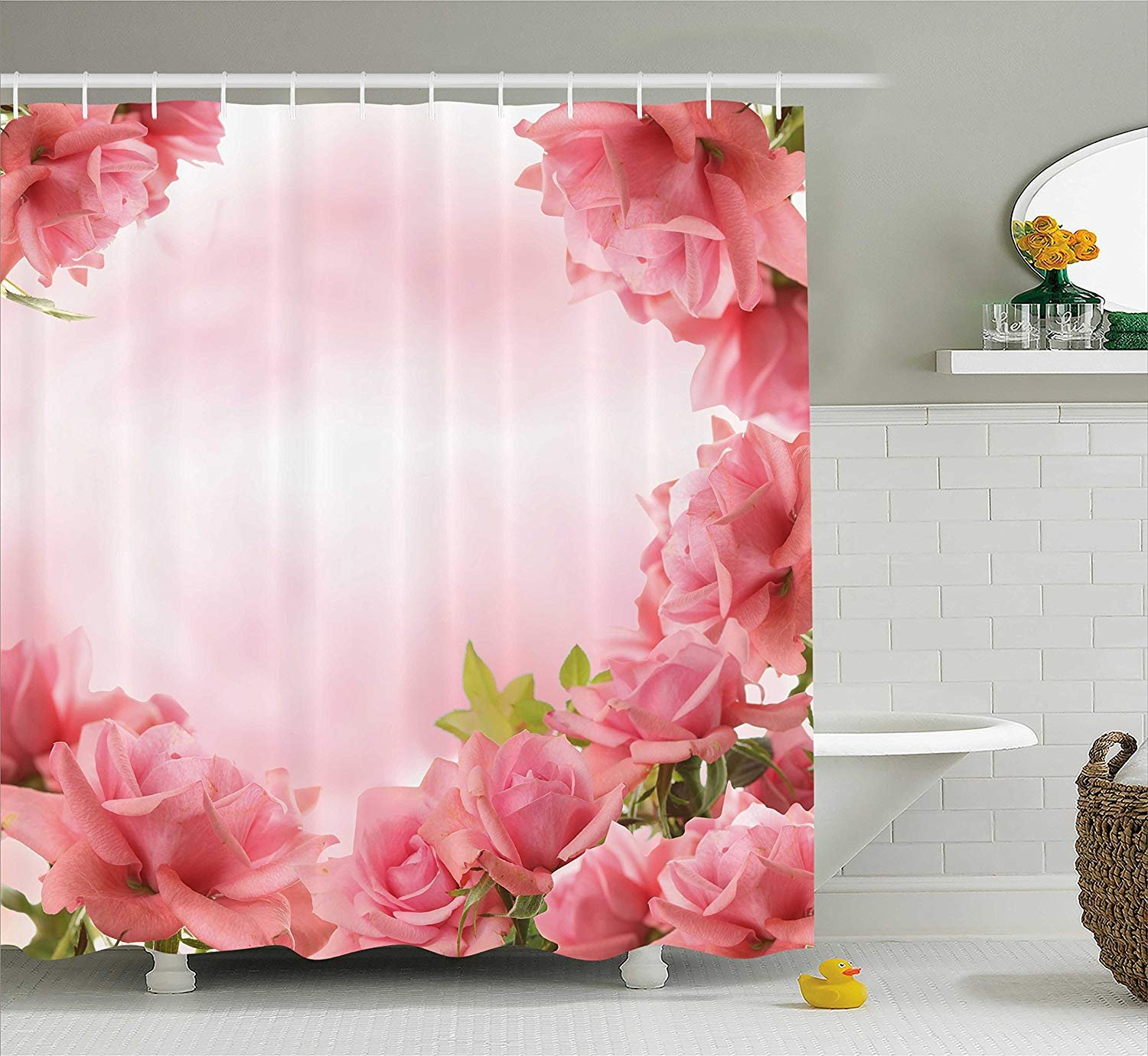 Printing Valentine Shower Curtain, Framework with Romantic Roses Leaves Bridal Love Wedding Marriage Corsage, Rustproof Metal Grommets for Bathroom Showers and Bathtubs, 72 x 84 Inches Pink Coral