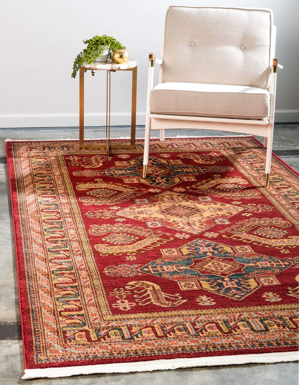 Unique Loom Sahand Collection Traditional Geometric Classic Red Area Rug 3 3 x 5 3