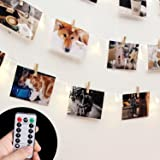 [Remote & Timer] 40 LED Wooden Photo Clip Light Picture Display - 30ft HAYATA Fairy Battery Operated Hanging Picture Frame Lighting for Party Wedding Dorm Bedroom Birthday Christmas Decorations