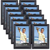 Icona Bay 4 x 6 Inch Picture Frames, (12 Pack) Bulk Set, Black, Wall Mount Hangers and Table Top Easel Included, Display Horizontally or Vertically