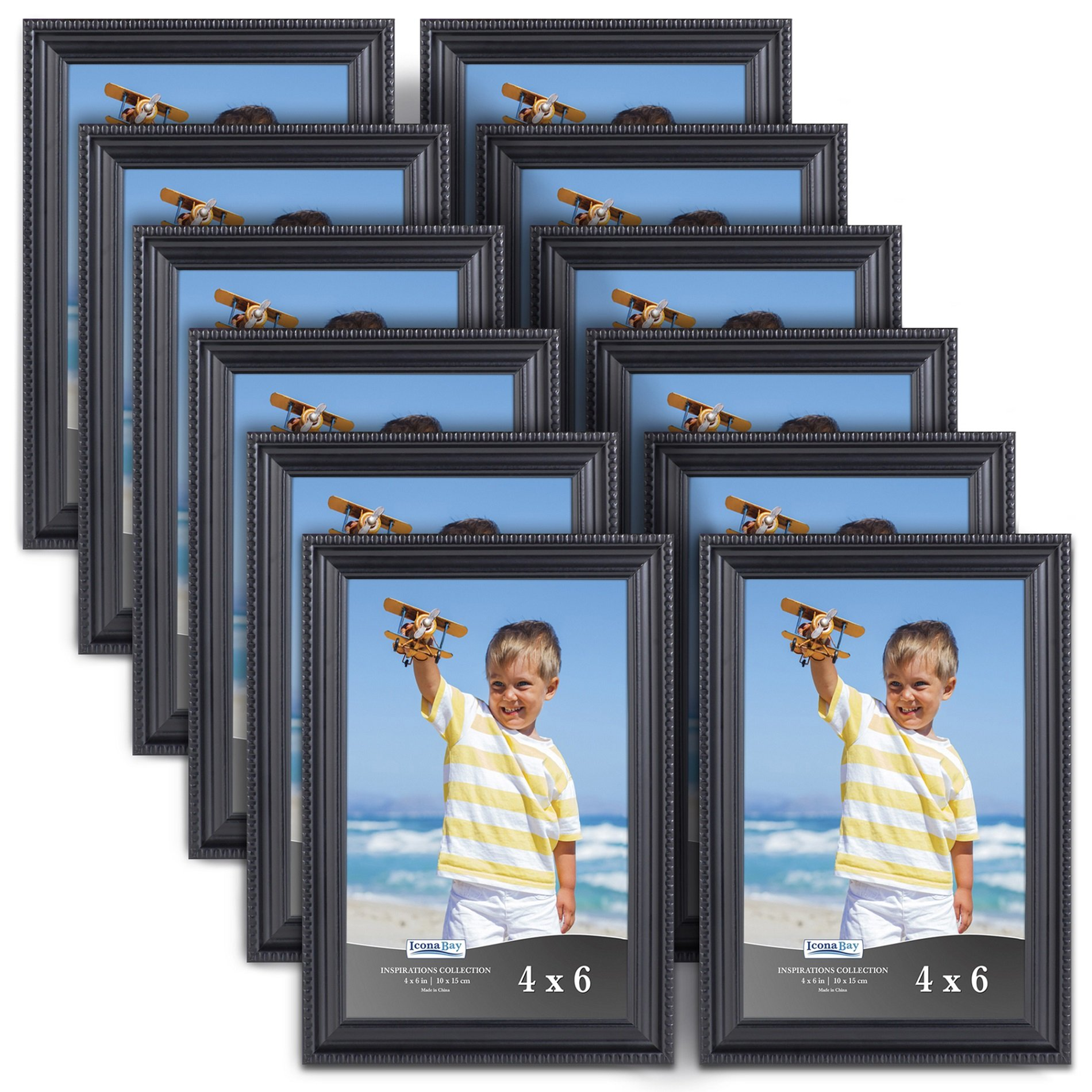 Icona Bay Black Picture Frames (4 x 6 Inch, 12 Pack) Bulk Set, Wall Mount Hangers and Table Top Easel Included, Display Horizontally or Vertically, Inspirations Collection
