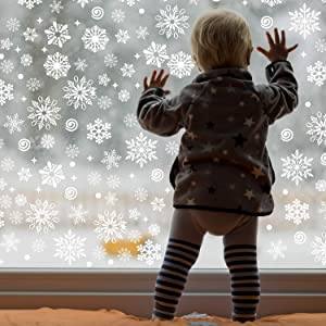 570 Pieces Christmas Window Clings Christmas Snowflake Decal Stickers Window Clings Decorations for Christmas Frozen Theme Party New Year Supplies, 12 Sheets(White)