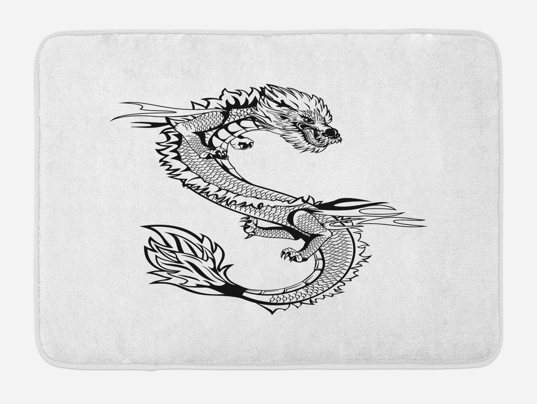 Ambesonne Japanese Dragon Bath Mat, Ancient Far Eastern Culture Esoteric Magical Monster Symbolic Thai Style, Plush Bathroom Decor Mat with Non Slip Backing, 29.5 W X 17.5 W Inches, Black White by Ambesonne