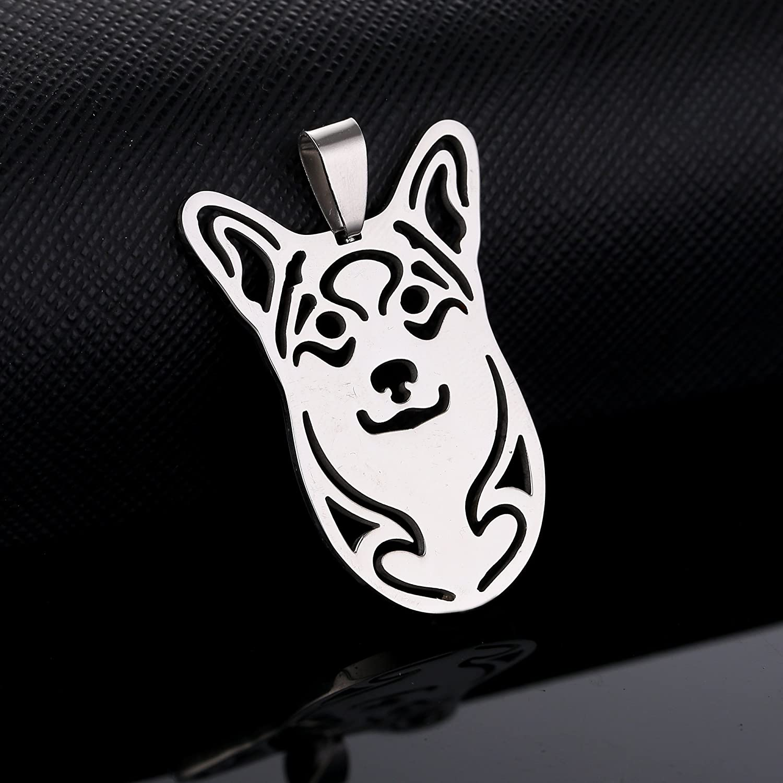 Stainless Steel Pembroke Cardigan Welsh Corgi Dog Head Pet Dog Tag Breed Collar Charm Pendant Necklace