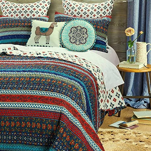 Boho Chic Quilt Set with Shams Brushed Microfiber Geometric Chevron Stripe Floral Design Bohemian Bedding Luxury Reversible Quilted Bedspread Dark Blue Red Single Twin Size- Includes Bed Sheet Straps