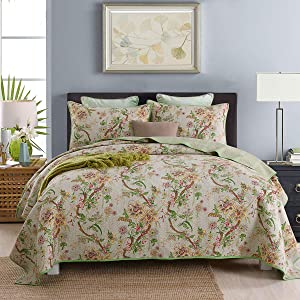 KAIANG Egyptian Cotton Quilt Set, Countryside Floral Pattern Bedspread, 3 Pieces Patchwork Coverlet Set, Queen Size