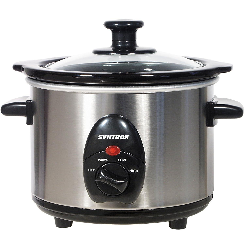 Syntrox Germany 2,5litri in acciaio inox Slow Cooker con funzione mantenimento calore, Vetro di sicurezza e entnehmb arer ciotola in ceramica–langsa mgarer slow-cooker