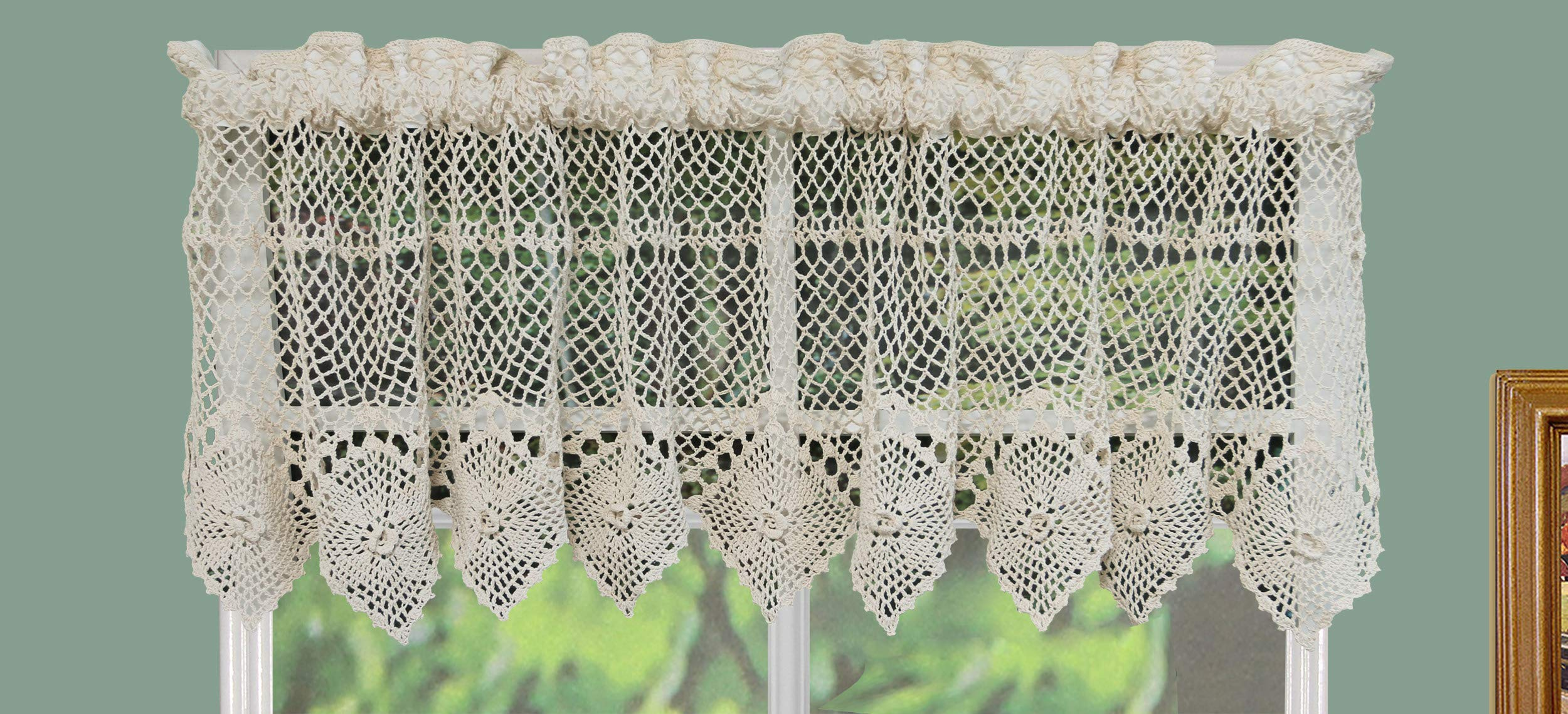 Creative Linens Cotton Crochet Lace Kitchen Curtain Valance Beige Handmade