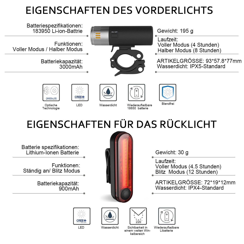 Luces de bicicleta, degbit USB Batería Set de luces para bicicleta, bicicleta de montaña ciclo de luz, luces, LED luces de bicicleta batería, ...