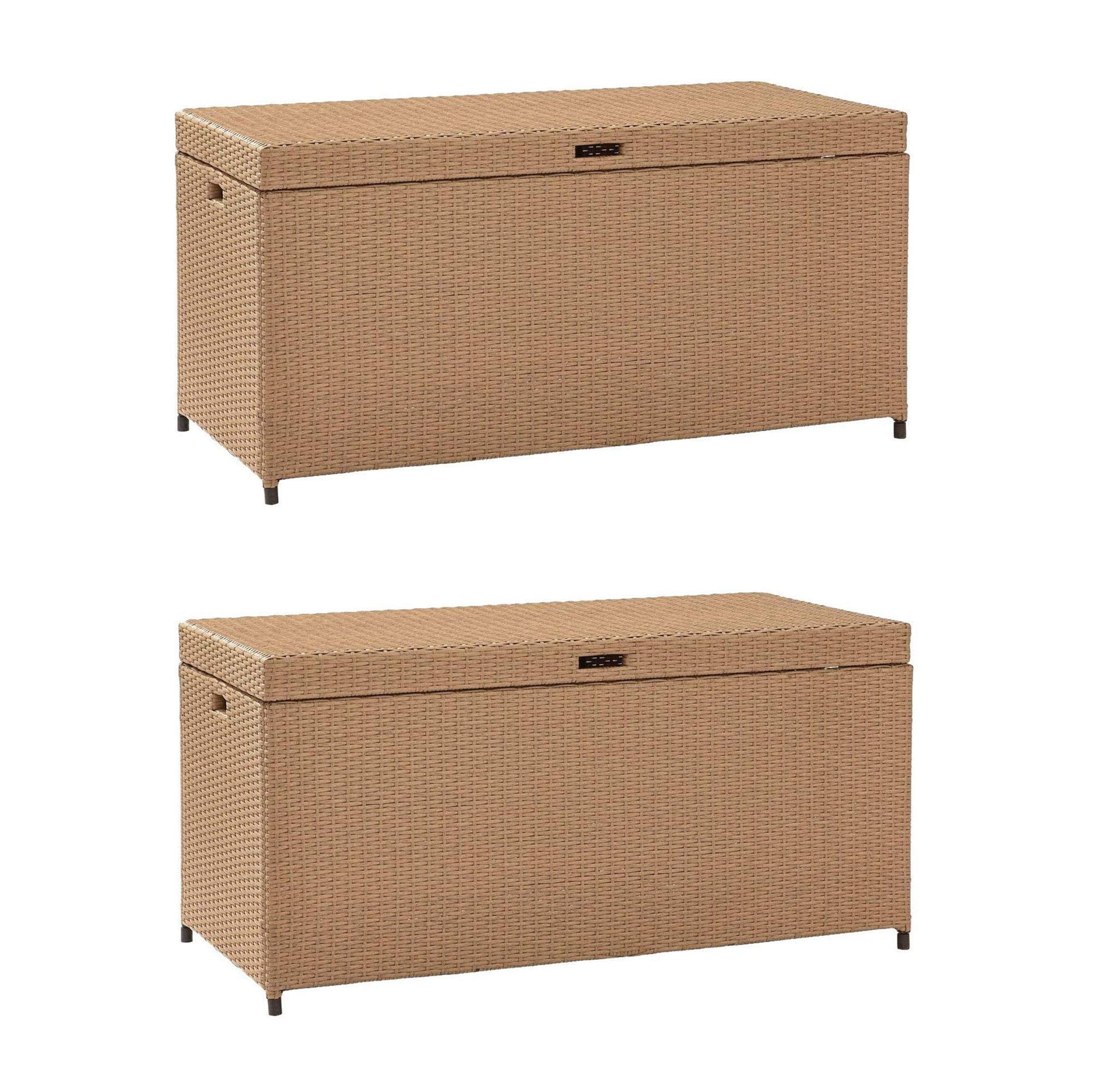 Crosely Furniture Palm Harbor Wicker Resin Outdoor Storage Bin, Light Brown (2 Pack)