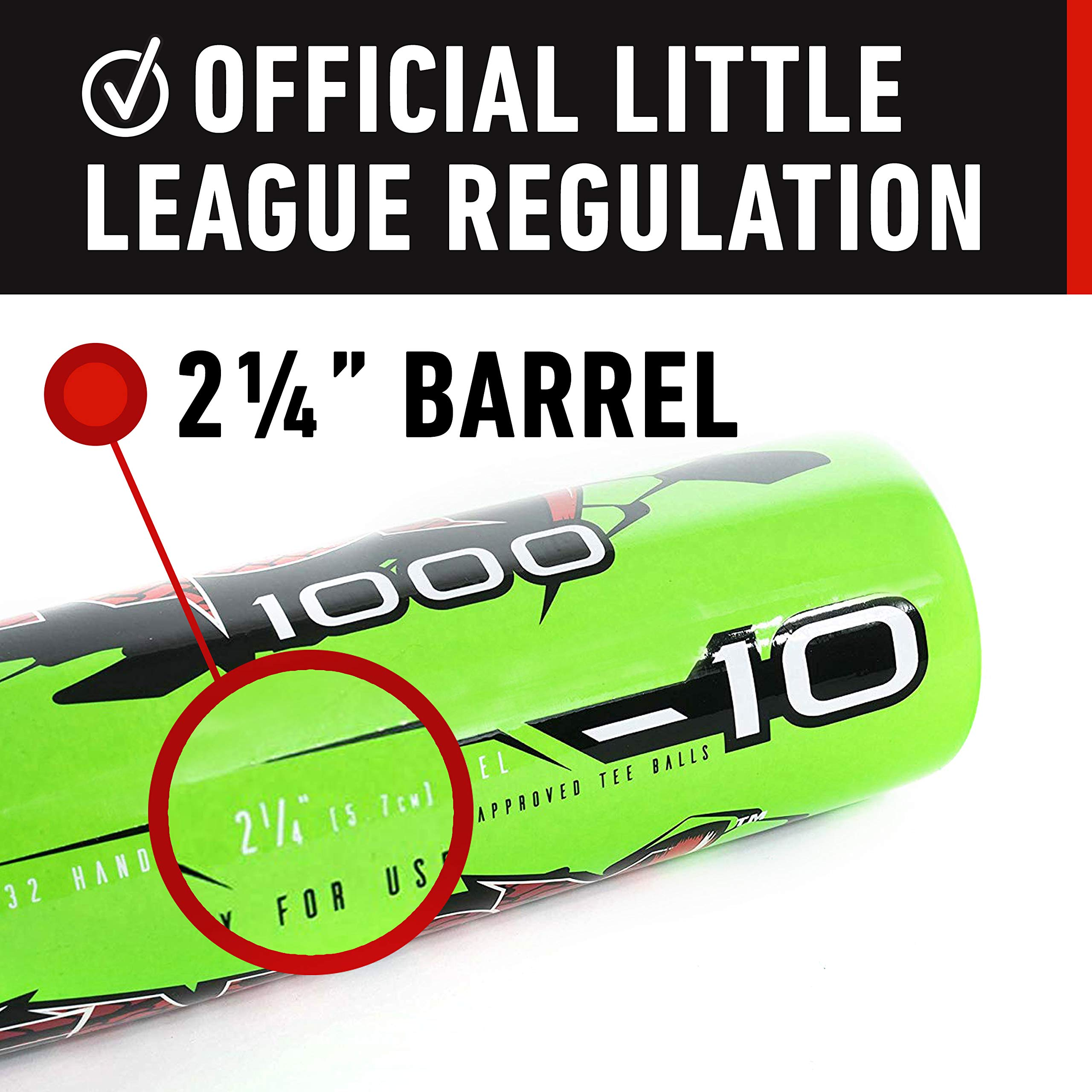 Franklin Sports Venom 1000 Official Teeball Bat - 26'' (-10) - Perfect for Youth Baseball and Teeball by Franklin Sports (Image #4)