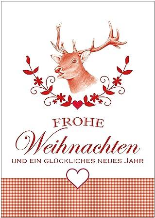 Frohe Weihnachten Herz.Weihnachtskarten Glückwunschkarten Mit Hirsch Illustiert Zweigen