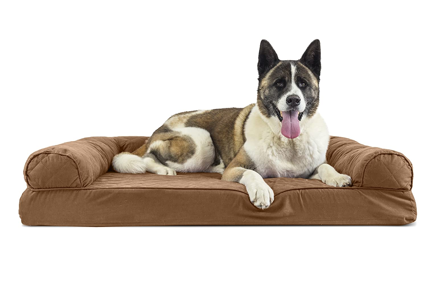 Furhaven Pet Dog Bed   Memory Foam Quilted Couch Sofa-Style Pet Bed for Dogs & Cats, Toasted Brown, Jumbo