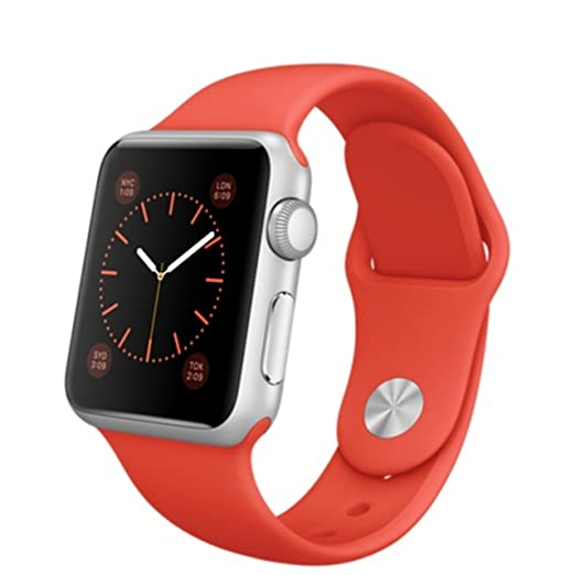 Apple Watch 38mm Silver Aluminum Case Orange Sport Band