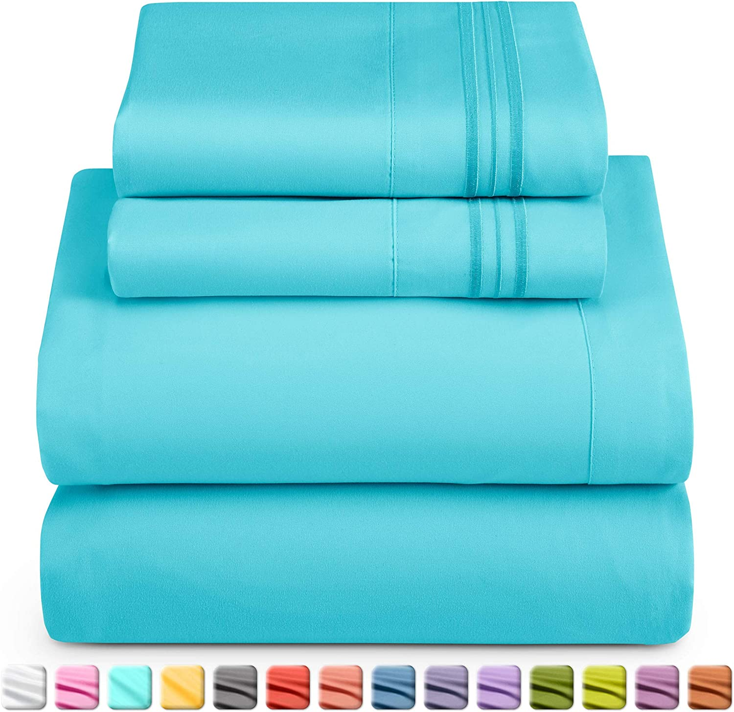 Nestl Deep Pocket Split King Sheets: 5 Piece Split King Size Bed Sheets with Fitted Sheet, Flat Sheet, Pillow Cases - Extra Soft Bedsheet Set with Deep Pockets for Split King Mattress - Beach Blue