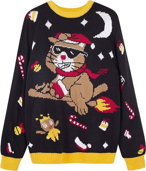 QUALFORT Women Christmas Sweater Cute Xmas Sweaters Ugly Christmas Cat Sweater for women