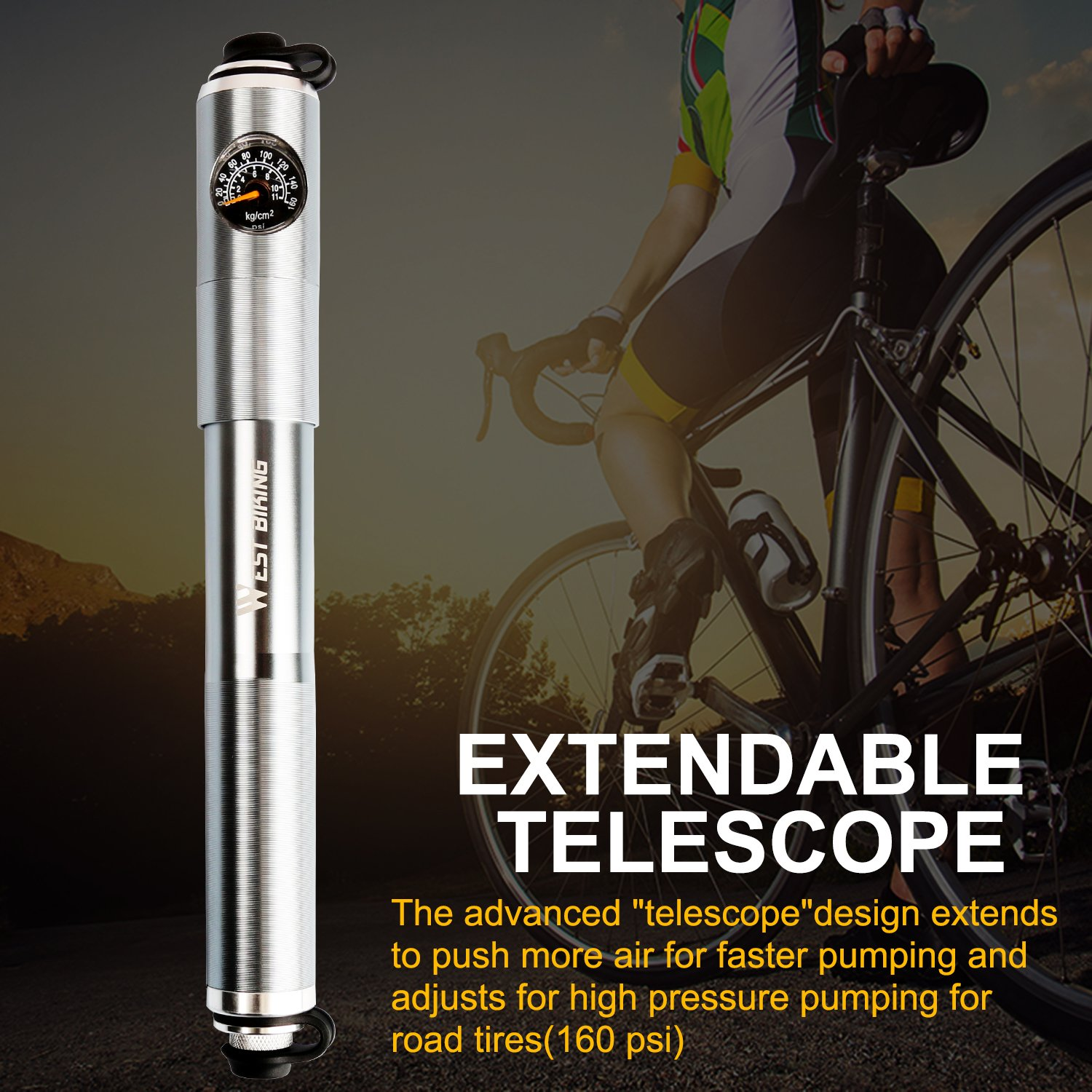 ICOCOPRO Mini Bike Pump with Digital Gauge-Reliable Hand Air Pump-Compatible Schrader Presta Bicycle Tire Pump-Lightweight & Powerful by ICOCOPRO (Image #5)