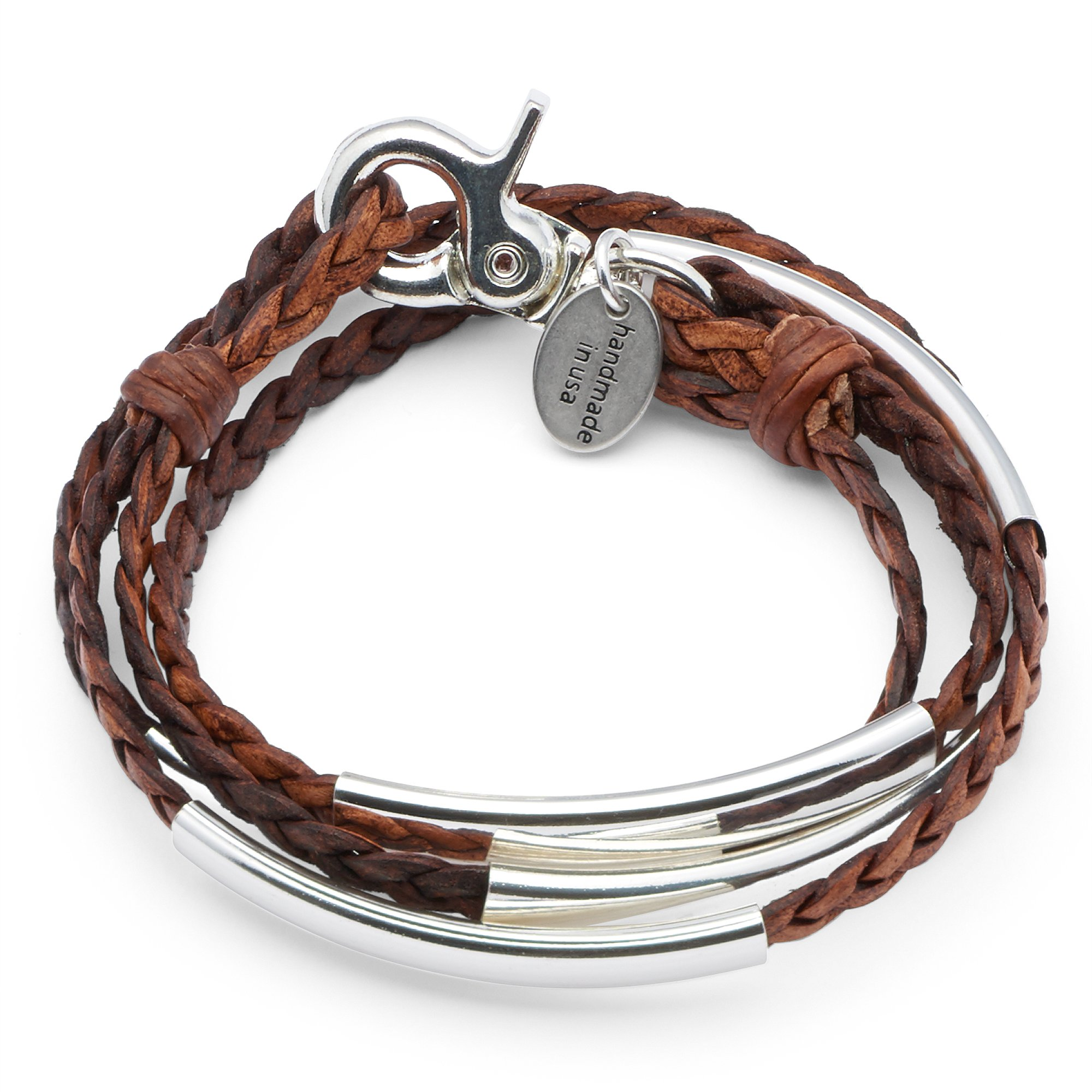 Mini Addison Braided Leather Wrap Bracelet with Silverplate Crescents in Natural Antique Brown Leather (Petite)