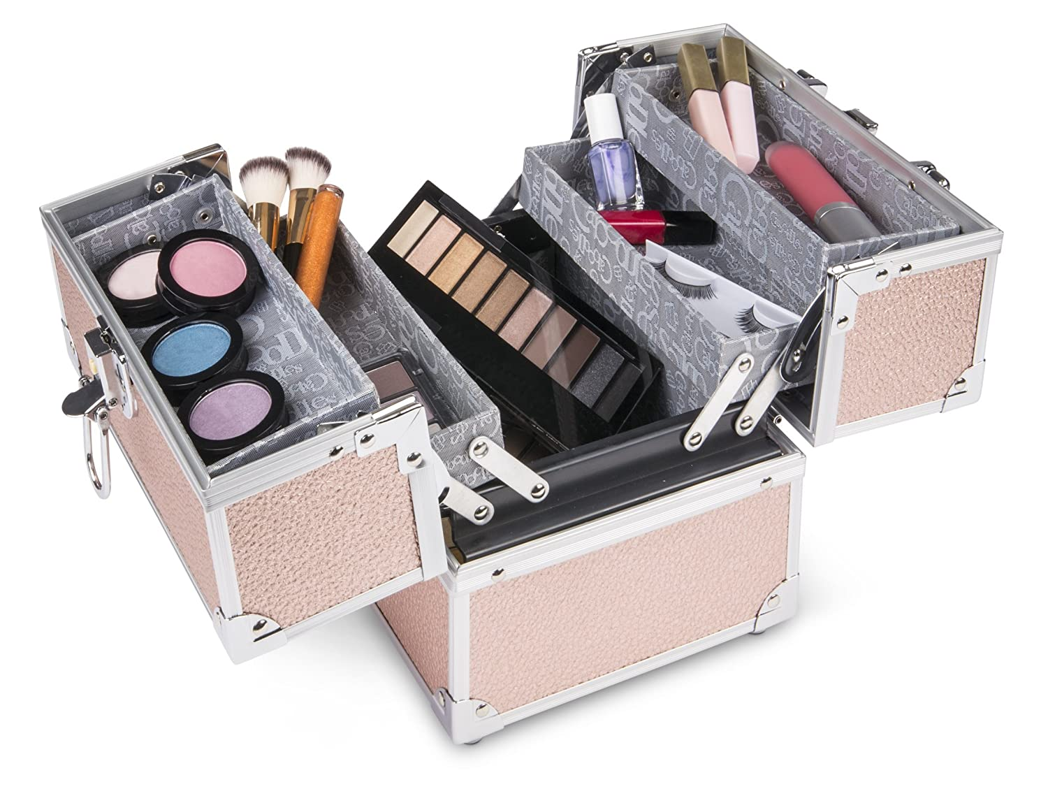 Caboodles Adored 4-tray Train Case, Includes Locking Latch with Keys, 3 Pound B07DN4X7Z3