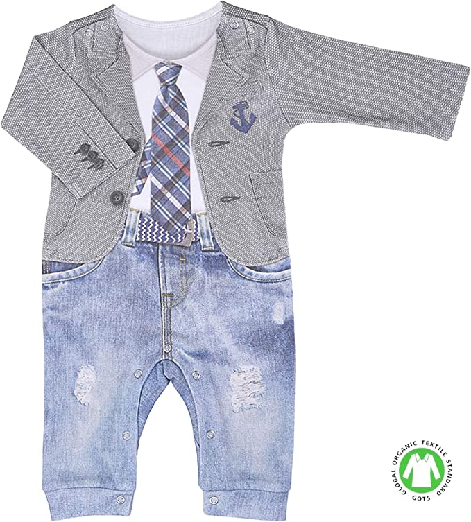 Sevira Kids – Pijama para bebé niño de algodón orgánico, LUCAS gris gris Talla:1-3M - 56CM: Amazon.es: Bebé
