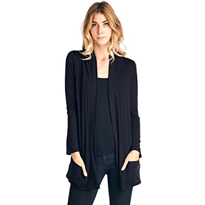 12 Ami Basic Long Sleeve Open Front Pocket Cardigan (S-2X) - Made in USA at Women's Clothing store