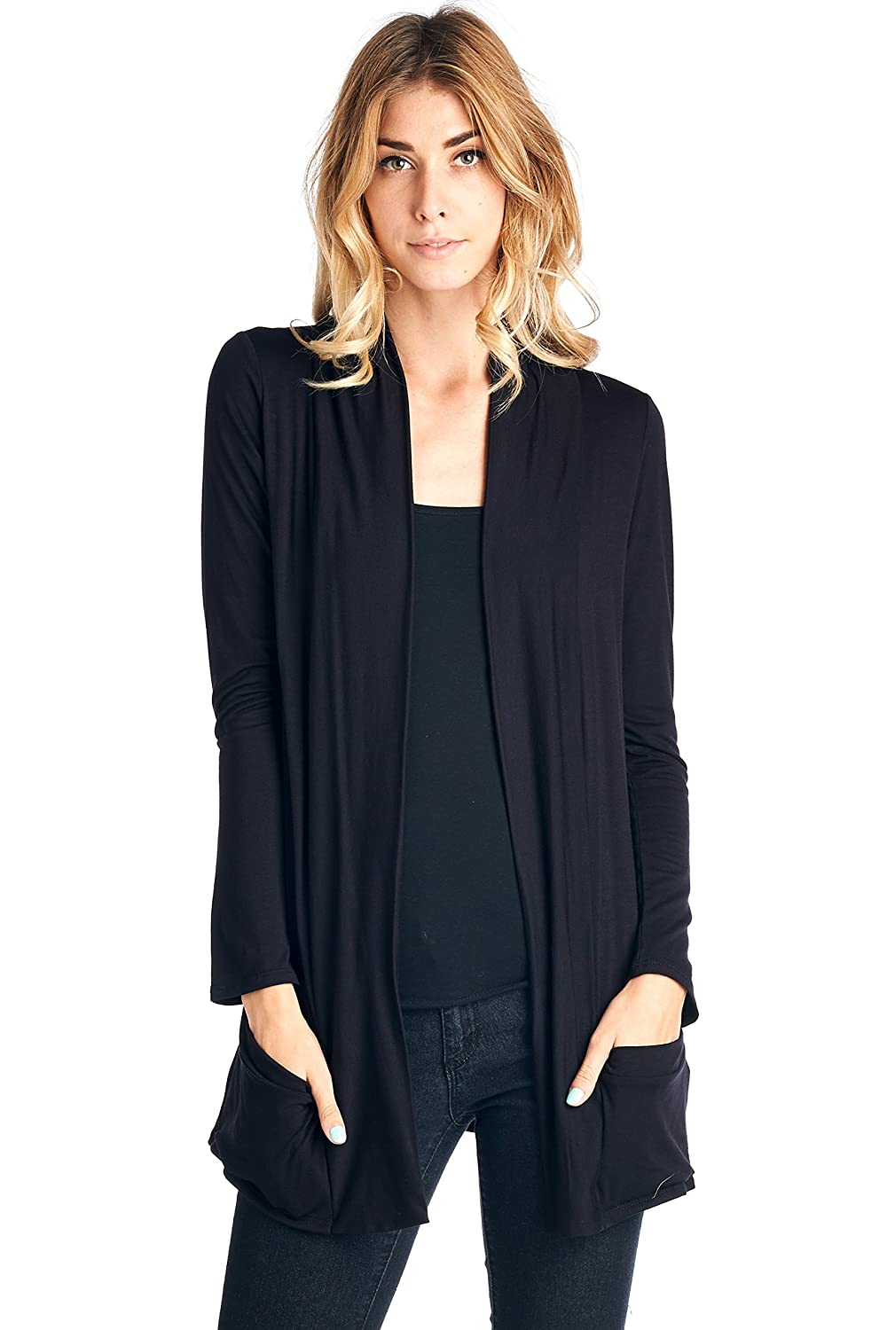 0d551e752f4 hot sale 2017 12 Ami Basic Long Sleeve Open Front Pocket Cardigan - Made in  USA