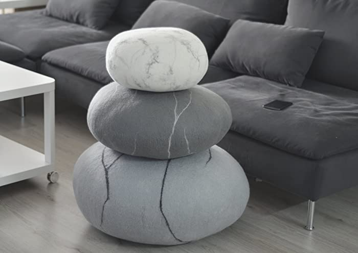 Natural Wool Gray Floor Poufs, Handmade Ottoman Foot Stool Ottoman Floor  Cushions Pouf Floor Pillows
