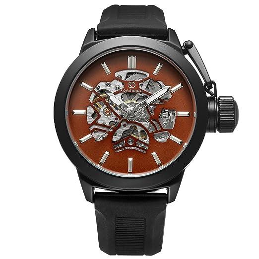 f273fdf4c2eb Forsining deporte ciclismo militares diseño marrón Dial banda de silicona  hombres relojes Top marca Luxury automático reloj de esqueleto reloj Me  ...