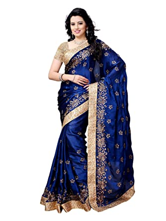 ce8e3cb87fb1 Womanista Women s Embroidered Satin Saree with Blouse Piece (FS5027 ...