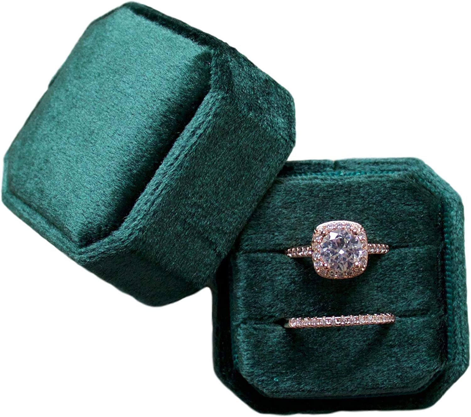 Marble Wolf Velvet Ring Box double slot Vintage Inspired - Octagon Square Ring Box - Perfect for Engagement Bride Wedding Photography - Bridal Gift for Mrs. (Emerald)