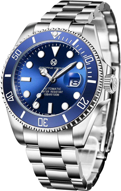 PAGRNE DESIGN Relojes Hombre Submariner Mecánico Automático japonés Analógico Acero Inoxidable Bracelet NH35