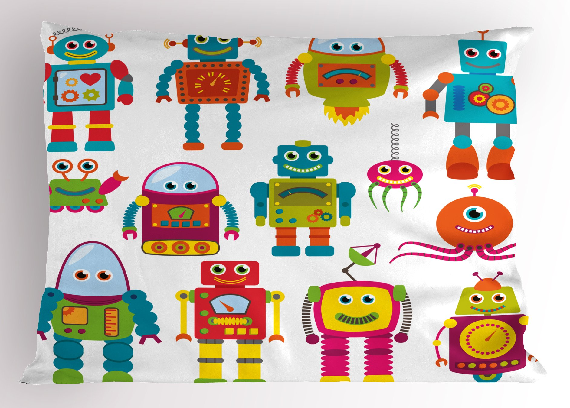 Lunarable Boy's Room Pillow Sham, Robot Drawing with Cartoon Style Future Toys with Smiling Faces Aliens Fun Games, Decorative Standard Size Printed Pillowcase, 26 X 20 inches, Multicolor