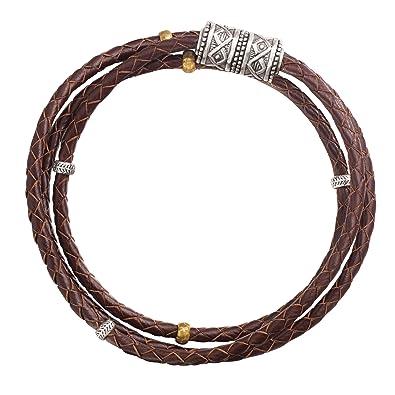 6ec024d1eb6 Amazon.com  Silpada  Multi-Purpose  Genuine Leather Wrap Chain Bracelet in  Sterling Silver and Brass