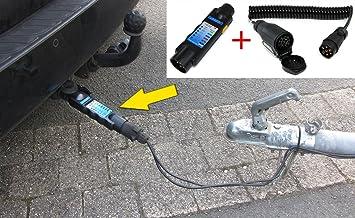 Tenzo R 26414 1 Auto Anhänger Stecker Prüfgerät Beleuchtungs Tester Mit Adapter 7 Auf 13 Polig Auto