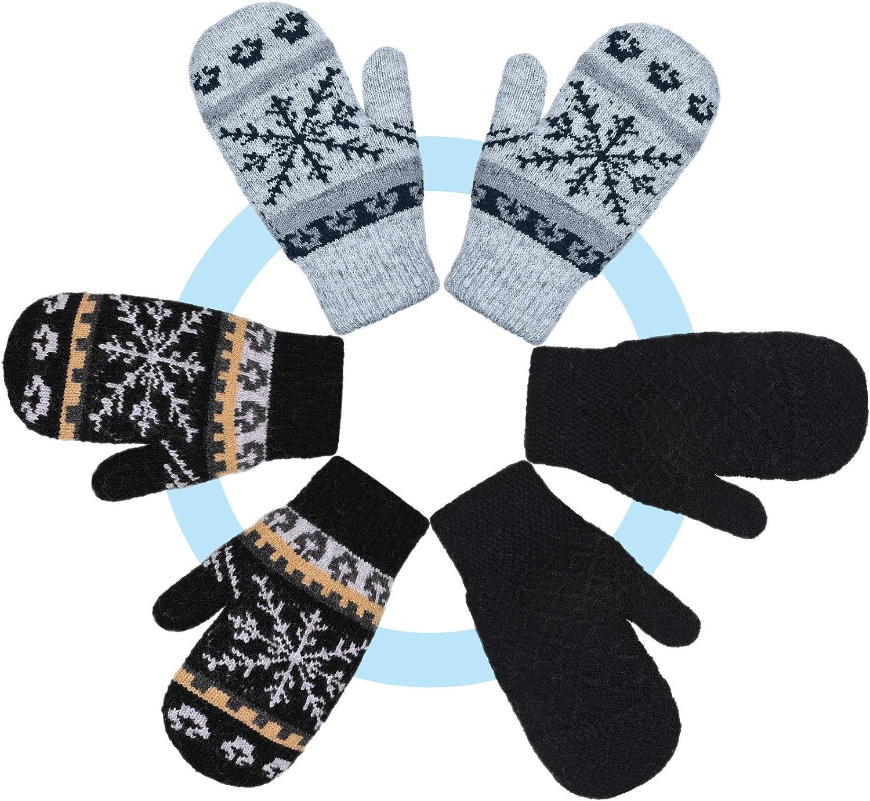 3 Pairs Warm Women Knit Mittens Women Snowflake Knit Mittens Winter Warm Mittens Gloves for Indoor Outdoor Activities