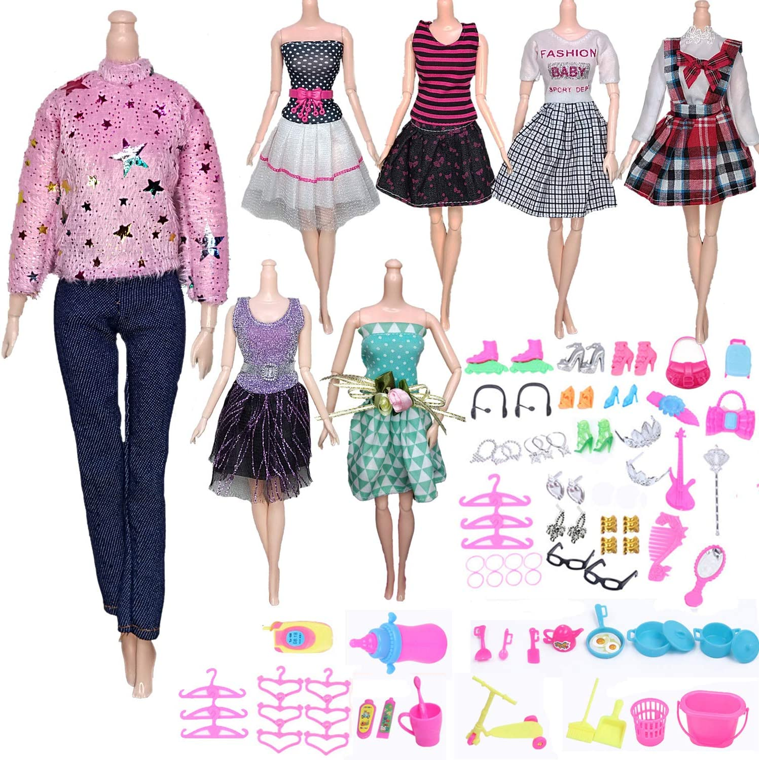 AMETUS Doll Clothes and Accessories for 11.5 inch Dolls, Party Dresses, Skirts, Pants, Sweater, Shirts, Shoes, Glasses, 91 PCS