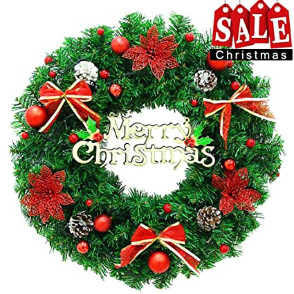 christmas wreath large front door wreath 24 inch wall garland decoration christmas party decor 24quot - Large Christmas Wreath